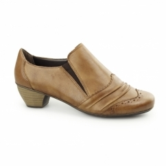 41730-24 Ladies Leather Heeled Court Shoes Brown