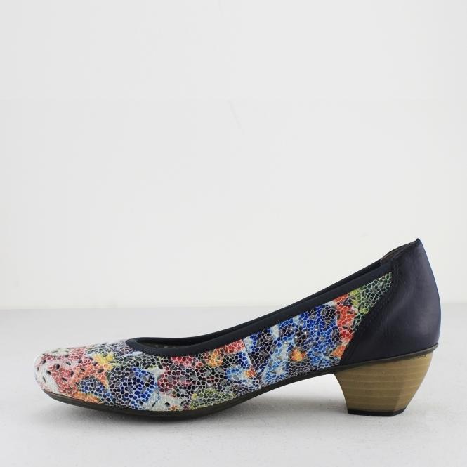 begrenzter Verkauf am besten wählen Los Angeles 41739-90 Ladies Block Heel Court Shoes Floral Multi