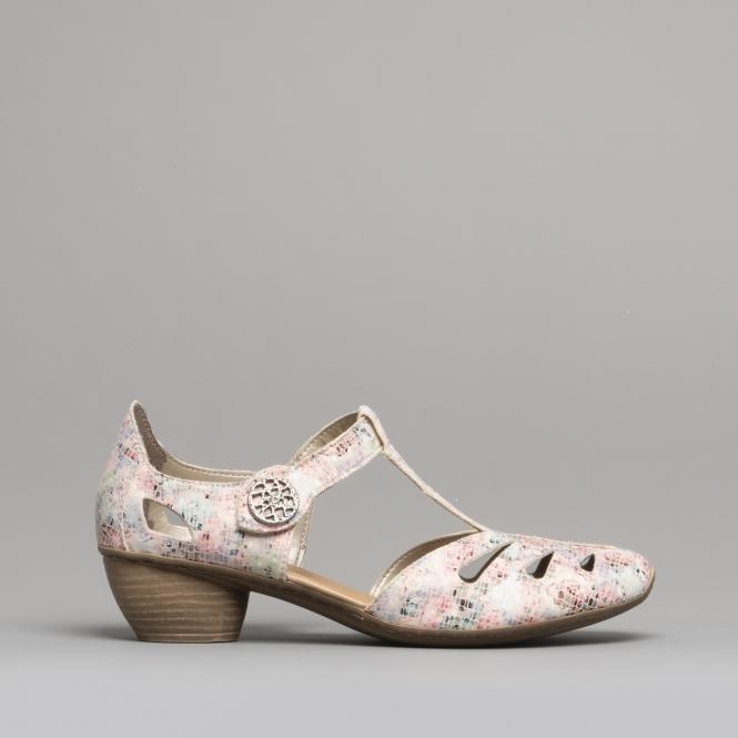9d7bd23590d0b 43750-90 Ladies Block Heel Shoes Nude/Multi