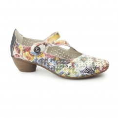 Rieker 43777-90 Ladies Leather Low Heel Shoes Floral Multi