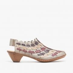 Rieker 41390-62 Ladies Womens Comfort Summer Wedge Heel Slingback Shoes Taupe