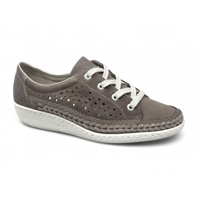 Rieker 49316-42 Ladies Lace Up Casual Trainers Grey