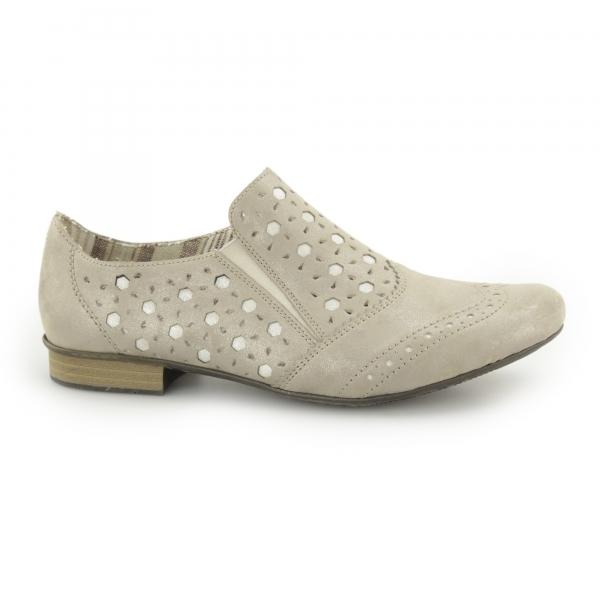 rieker 51952 90 ladies leather slip on shoes beige shuperb. Black Bedroom Furniture Sets. Home Design Ideas