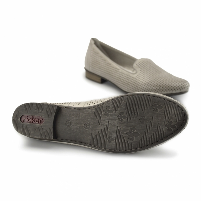 51977 40 Ladies Leather Loafer Shoes Grey