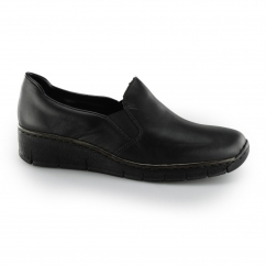 Rieker 53766 Ladies Leather Slip-On Loafer Shoes Black