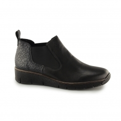 Rieker 53794 Ladies Leather Slip On Chelsea Boots Black | Shuperb