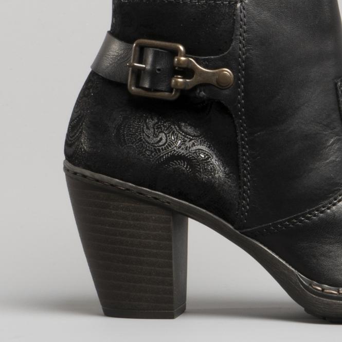 Ankle Leather Block 55292 Heel 00 Boots Black Ladies qzjSMpUVLG