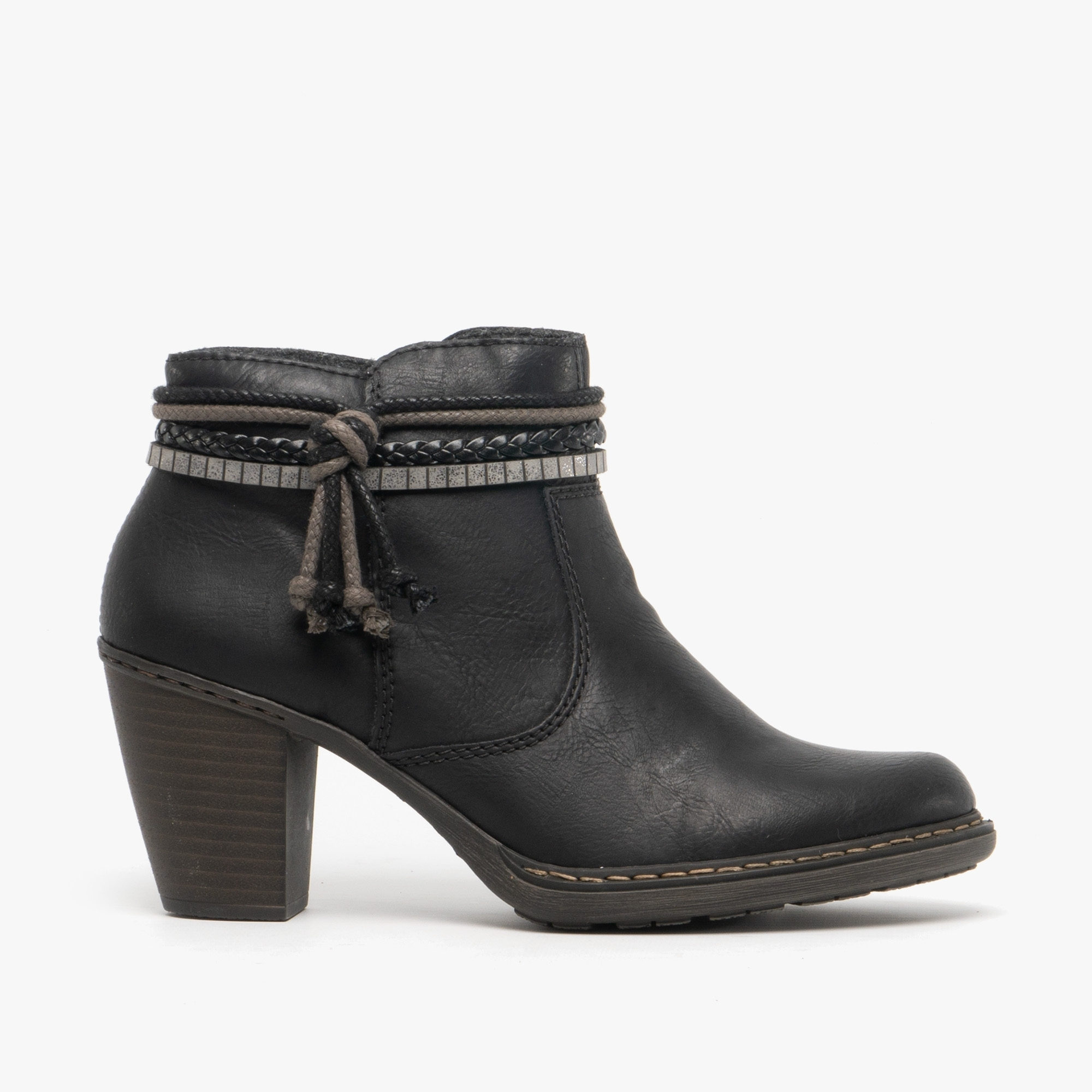 Rieker 70562 Ladies Black Leather Zip Up And Stitch Detail Heeled Ankle Boots