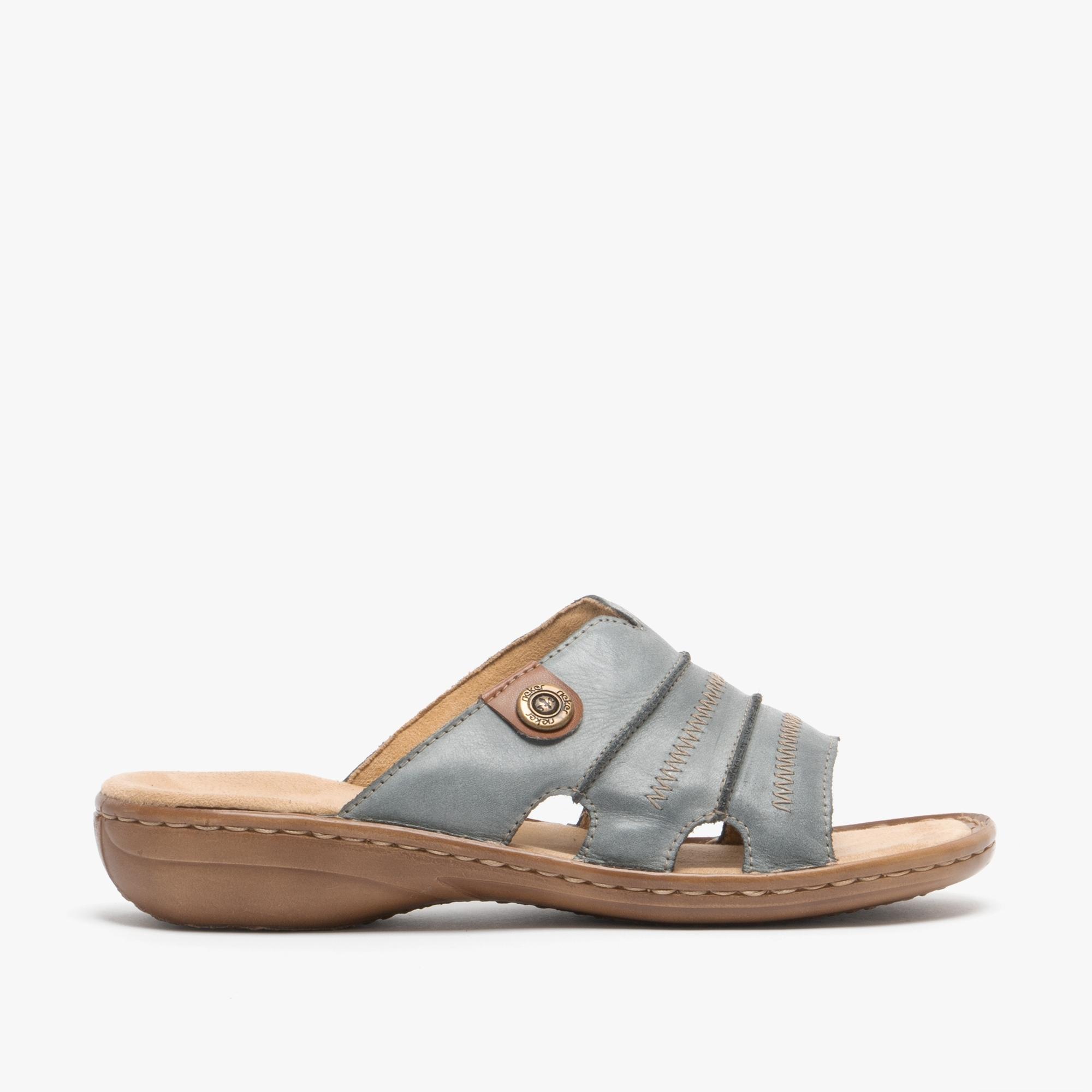 60876 Ladies Rieker Leather Open Toe Mule Sandals
