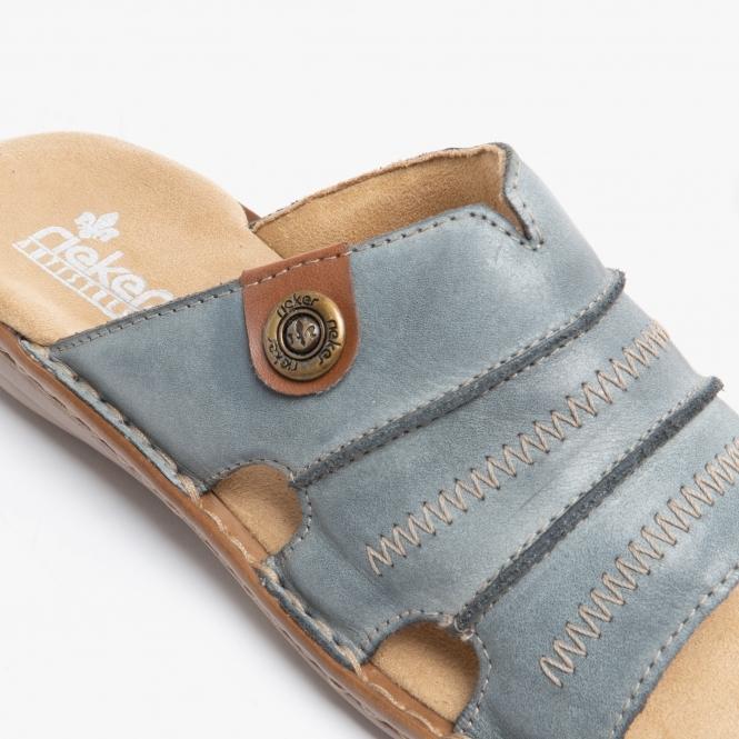 attraktive Mode große Auswahl von 2019 reduzierter Preis Rieker 60876-12 Womens Ladies Slip On Mule Sandals Blue | Shuperb