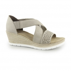 Rieker 61976-42 Ladies Slip On Wedge Heel Sandals Steel Grey