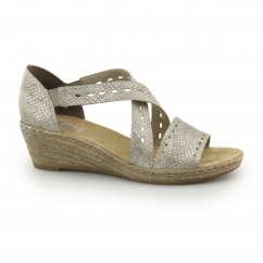 Rieker 62455-64 Ladies Slip On Wedge Heel Sandals Silver
