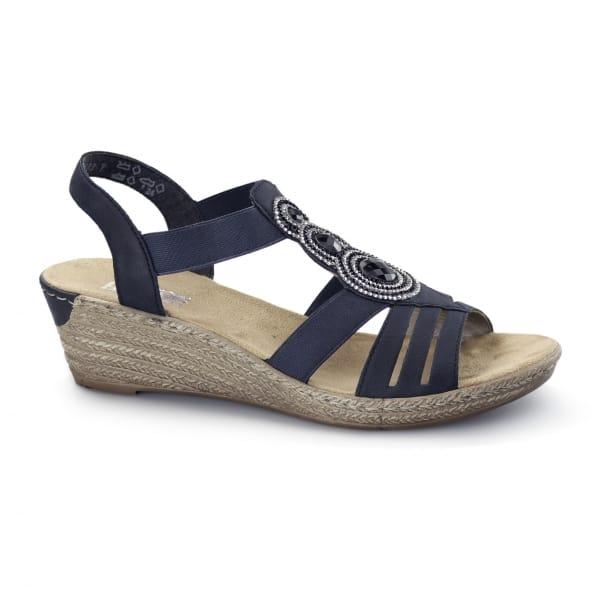 rieker 62459 14 wedge slingback sandals navy blue