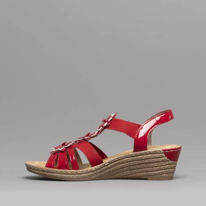 62461 34 Ladies Wedge Heel Sandals Red