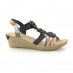 Rieker 62461-90 Ladies Wedge Slingback Sandals Floral Multi