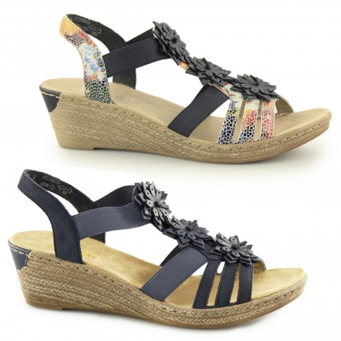 62461 90 Ladies Wedge Slingback Sandals Floral Multi