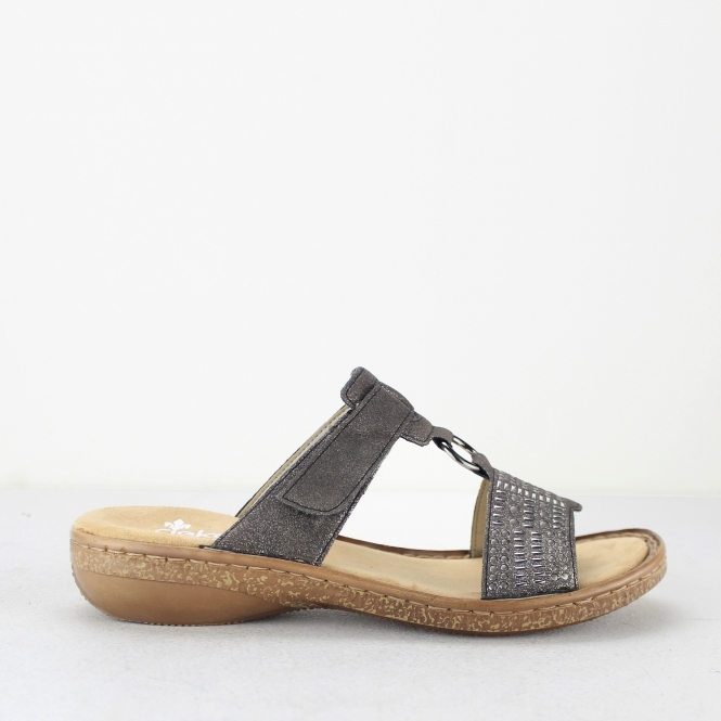 c83fc50b6a Rieker 62854-45 Ladies Womens Mule Slip On Sandals Metallic