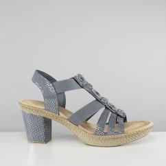 9389e593cbd Rieker 66527-12 Ladies Embellished Block Heel Sandals Blue