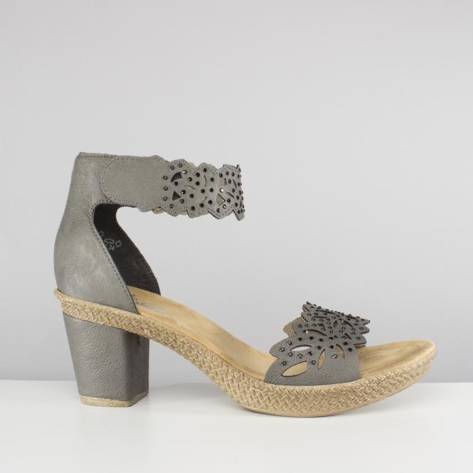 8891e2d4552e6 Rieker 66555-40 Ladies Cut Out Block Heel Sandals Shark Grey | Shuperb