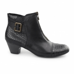 70581-00 Ladies Leather Centre Zip Heel Ankle Boots Black