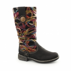 Rieker 74663-00 Ladies Womens Patterned Long Boots Black/Multi