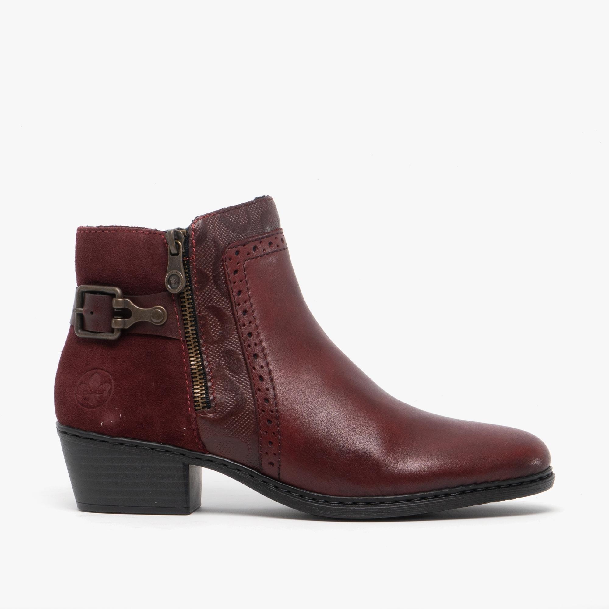 Rieker 75585-30 Ladies Block Heel Zip