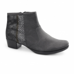76689-46 Ladies Leather Zip Ankle Boots Grey