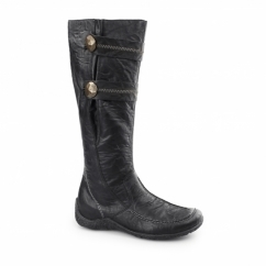 79970-01 Ladies Distressed Knee High Boots Black