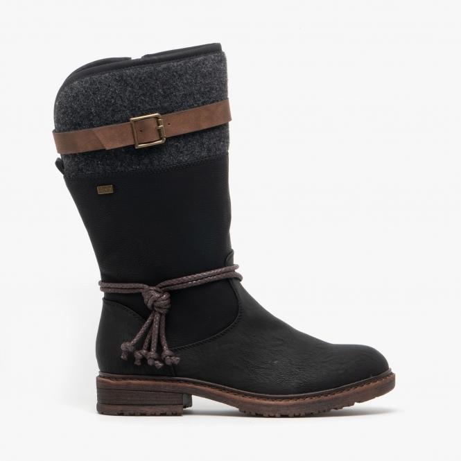 94778 00 Ladies Mid Calf Boots Black