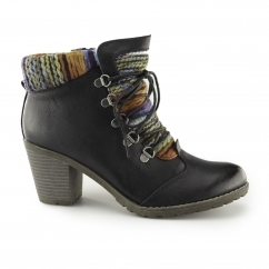 Rieker 95323-00 Ladies Womens Funky Heeled Ankle Boots Black