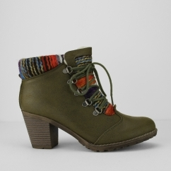 Rieker 95323-54 Ladies Heeled Ankle Boots Olive