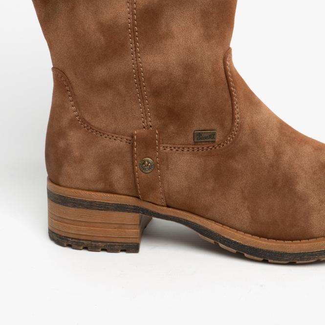 rieker womens brown mid calf boots