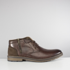F5531-25 Mens Leather Warm Chukka Boots Brown