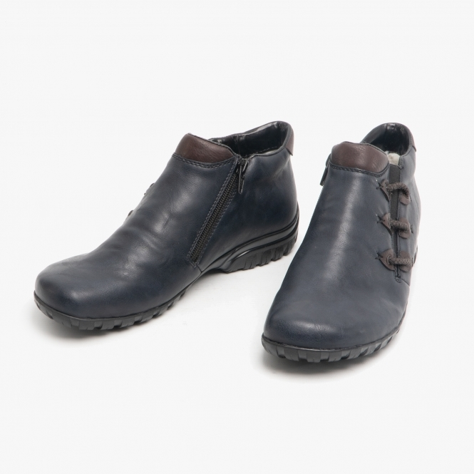 Wide Fit Ankle Boots Navy   Shuperb