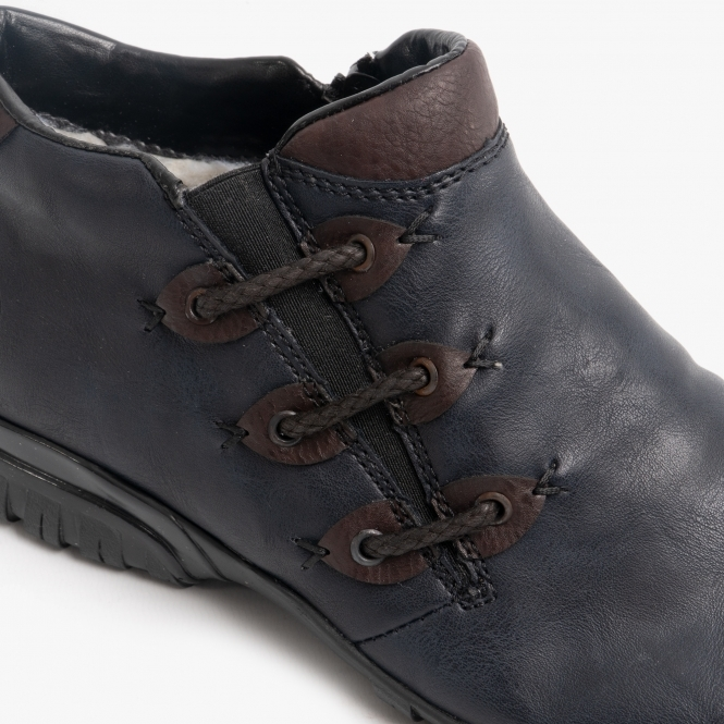 Wide Fit Ankle Boots Navy | Shuperb