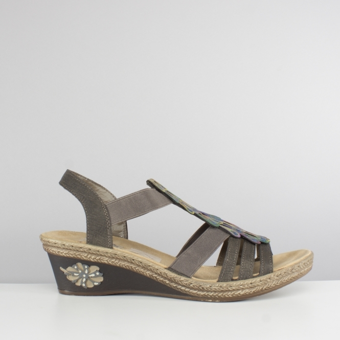 Ladies Sandals Wedge 45 V2426 Grey Heel rCsxothBQd