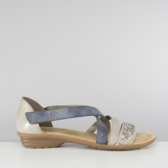 4f025475a7 Rieker V3405-42 Ladies Strappy Flat Summer Sandals Grey