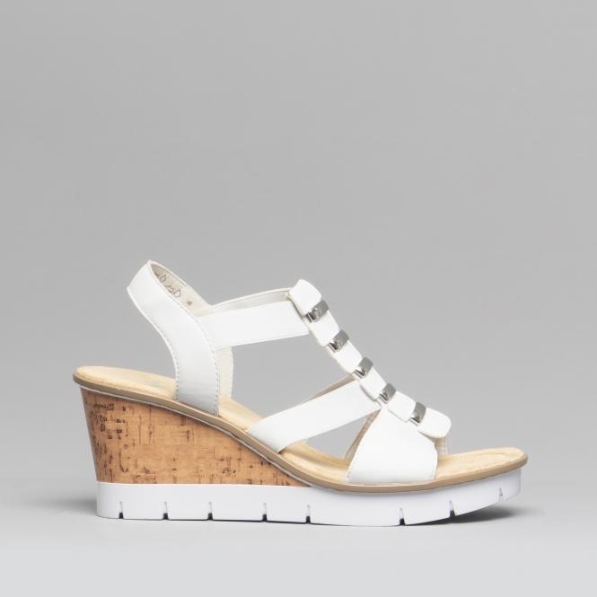 0a102f5a3 V5545-80 Ladies Wedge Heel Sandals White | Shuperb