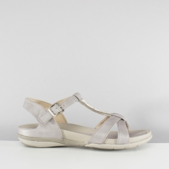 V9463-42 Ladies Buckle Flat Sandals Grey by Rieker