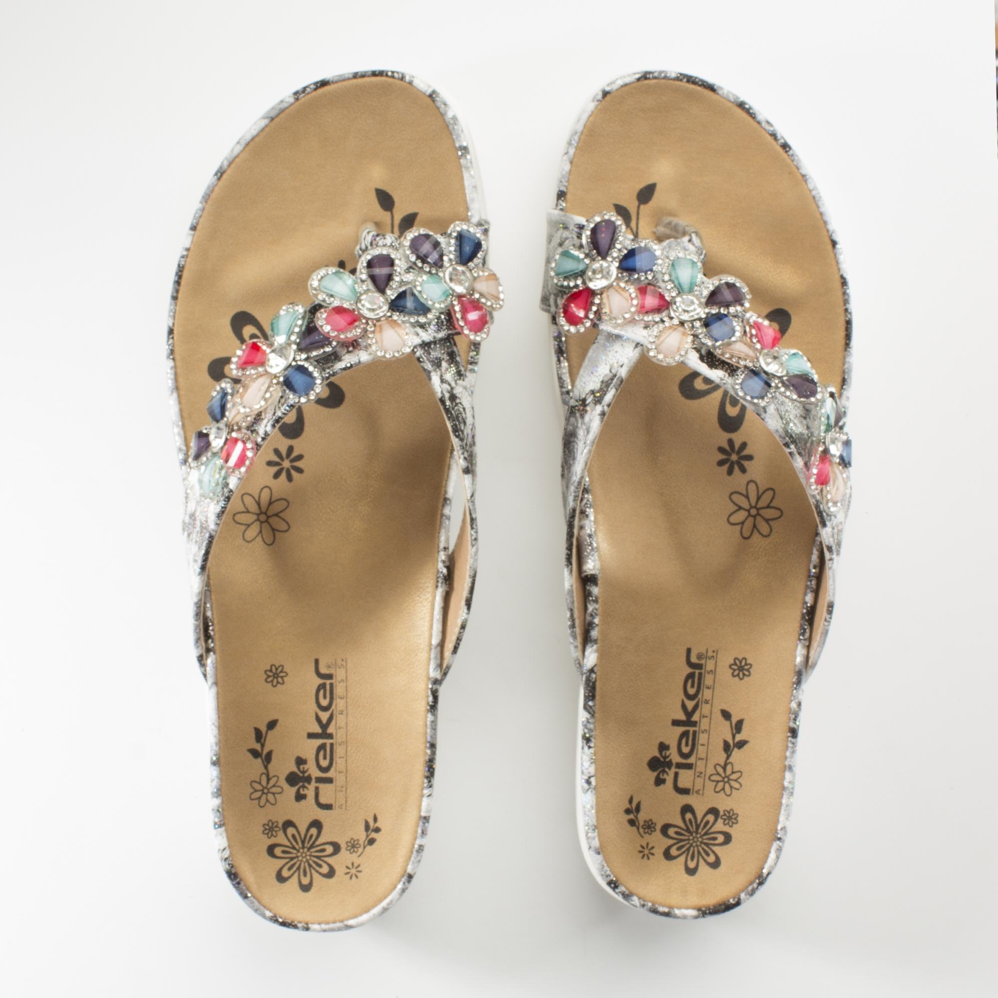timeless design 0fc1f 68024 Rieker V9591-90 Ladies Embellished Thong Sandals Grey/Multi