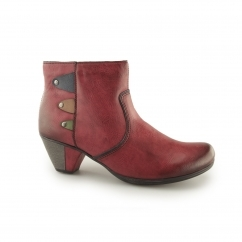 Rieker Y7273-36 Ladies Wool Lined Heel Ankle Boots Wine/Navy