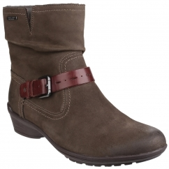 RILEY Ladies Waterproof Leather Ankle Boots Stone