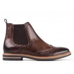 Base London RILEY Mens Leather Brogue Chelsea Boots Cocoa | Shuperb
