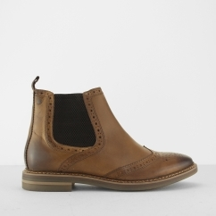 Base London RILEY Mens Leather Brogue Chelsea Boots Tan