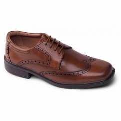 RILEY Mens Leather Lace Wide Brogue Shoes Light Tan
