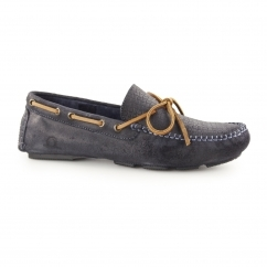 RILEY Mens Suede Leather Slip On Deck Shoes Navy