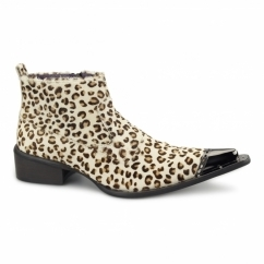 RIMINI Mens Leather Winklepicker Boots Leopard Print