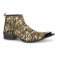 RIMINI Mens Leather Winklepicker Boots Tiger Print