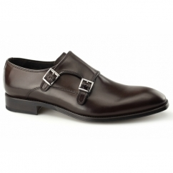 RIPON Mens Leather Double Monkstrap Shoes Brown