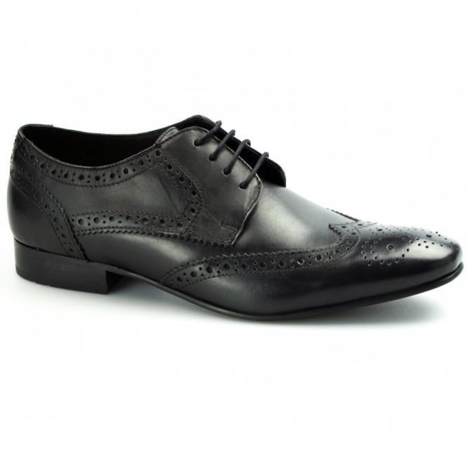 Ikon RITCHIE Mens Leather Lace Up Brogue Shoes Black
